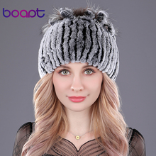 [boapt] Genuine Rex Rabbit Fur Women's Hats Winter Beanie Striped Head Top Flower Fox Fur Warm Real Wool Knit Caps Headgear Hat(China)