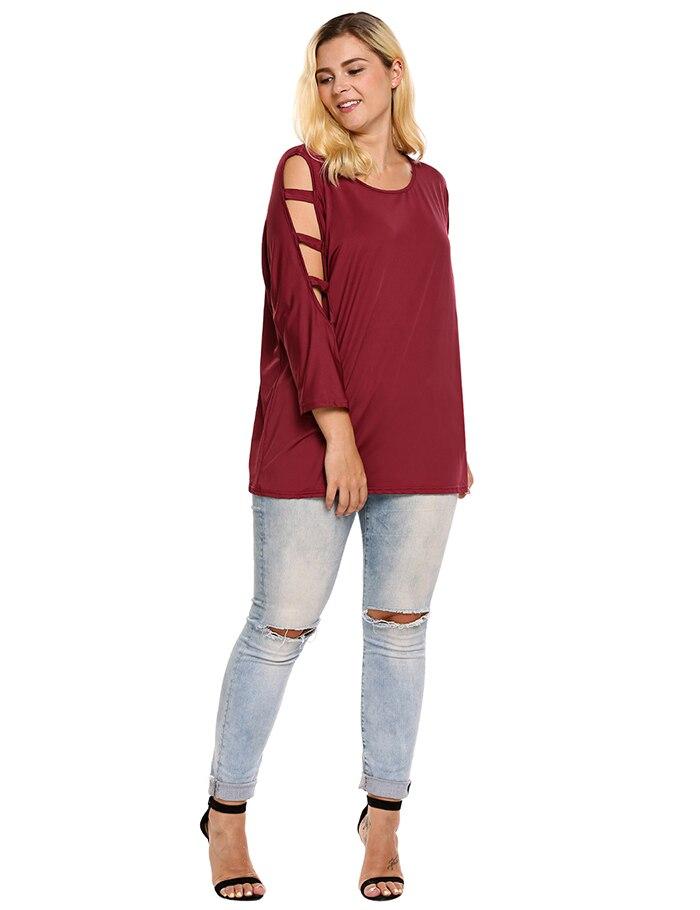 Women's T-Shirt, Summer Round Neck, Cut-out, Batwing, 3/4 Sleeve Ladies T-shirt 15