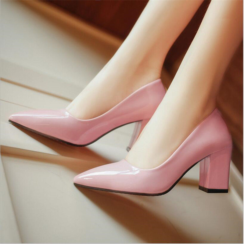 Lady Patent Leather Pointed Wild Thick With A Single High Heels Sexy shoes.SZ-02<br><br>Aliexpress