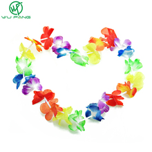 10pcs/lot Wreath Rushed Artificial Flowers Hawaiian Leis Party Supplies Garland Necklace Colorful Fancy Dress Hawaii Beach Fun(China)