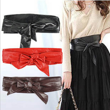 Retail new 2016 Fashion  Lady Bowknot Bind Wide Belt   women Belt for women's  Belt Accessories