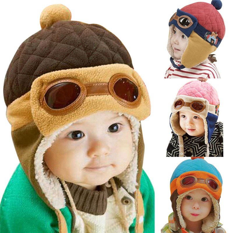 Baby Hats 1-4 Years Boys Girls cap Kids Winter Bear pilots Hat For Children Baby Muts Cute Plus plush Infant caps 4 colors(China)