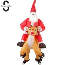 Senza Fretta Christmas Santa Claus Inflatable Costume Christmas Elk Costume Funny Party Inflatable Christmas Gifts XSY0569(China)