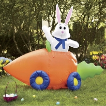 New 8FT Giant Airblown Inflatable Easter Bunny in Carrot Car Yard Decoration