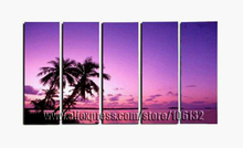 Framed 5 Panel Large Purple Paintings Sea 5 Panel Canvas Art Palm Tree Coconut Picture Home Decoration   A0931