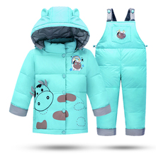 Kids Clothes Winter Down Jackets For Girls Boys Warm Coat Snowsuit Children Outerwear Clothing Set Cow Print Overalls Jumpsuit