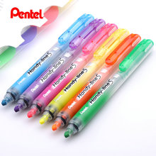 Pentel Handy Line S Highligter Marker Retractable Refillable Blue/Violet/Orange/Yellow/Pink/Green SXS15(China)