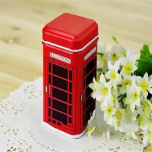 Classic Red Metal Telephone Booth tank Storage Box Candy Trinket Tin Jewelry Iron Tea Coin Storage Square Box Case Dropshop