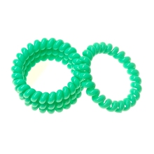 Woman's headdress,High Quality Telephone Line Elastic Hair Bands, Solid Peacock Green color Hair Gum Girls A216(China)