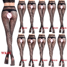 Buy Women Sexy Lingerie Jacquard Lace Elastic Stockings Transparent Black Fishnet Stocking Thigh Sheer Tights Embroidery Pantyhose