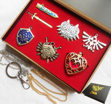 6pcs the Legend of Zelda Link Shield Links Sword model toys keychain pendant necklace cosplay gift box figure toys for(China)