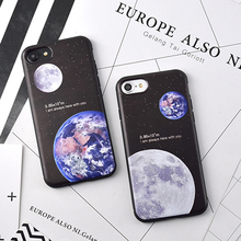 "New Moon Earth Distance ""I am always here with you"" Pattern For Iphone 6 6S Plus 7 7 Plus Soft TPU Anti Shock Mobile Phone Cases"