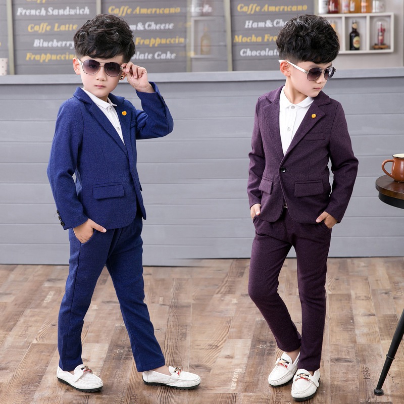Children suit 2018 fashion childrens clothing spring and autumn boy suit  performance clothing solid color two / piece<br>