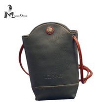 Small high quality retro leather mobile phone shoulder bag, phone leather carry bag