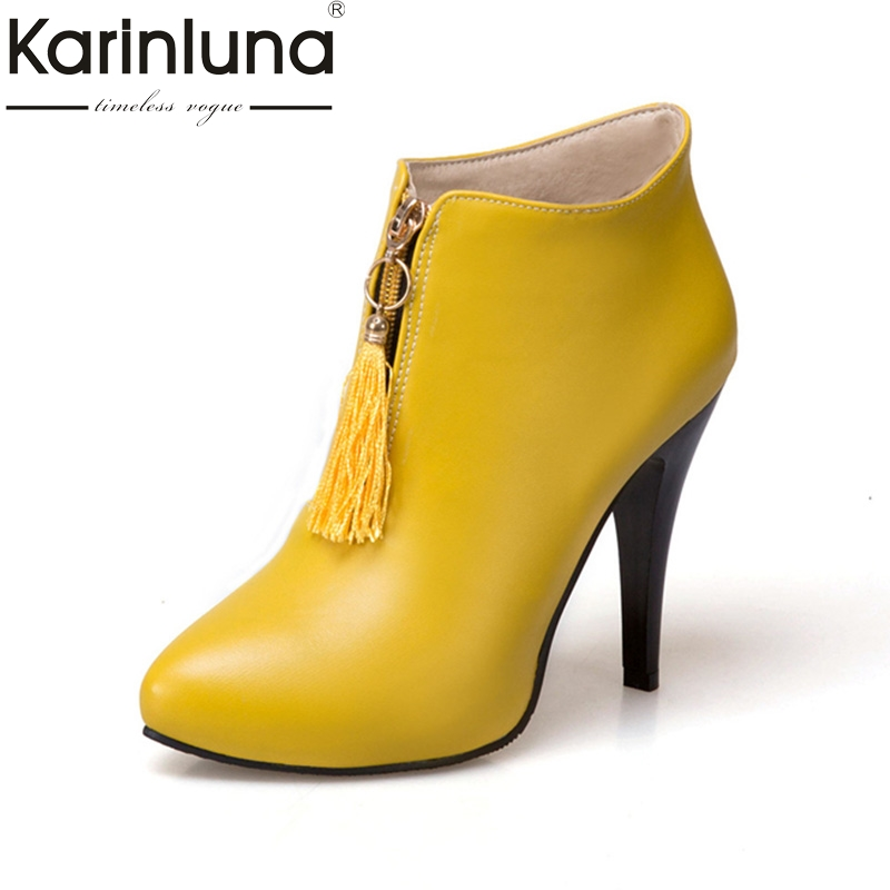 KarinLuna Fashion large size 30-50 Women Pumps thin High Heels Round Toe party wedding Shoes Woman Shoes<br>
