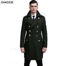 CHAOJUE Design men coats and jackets S-6XL oversized tall and big men green woolen coat germany army navy pea coat free shipping