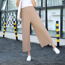 OtherLinks Pleated Flare Chiffon High Waist Wide Legs Pants Womens Slacks Casual Pants Lady Summer Palazzo Trousers See Through