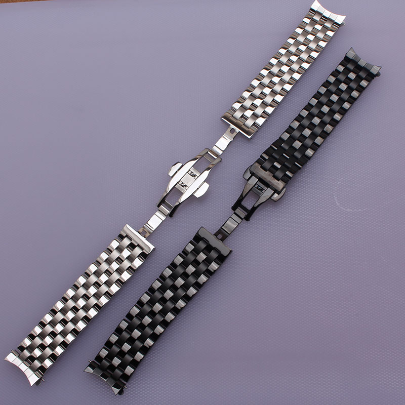 16mm 18mm 20mm 22mm 24mm High quality Silver Depolyment Watchband Black Metal Watch Bands Bracelets Common curved end flat ends<br>