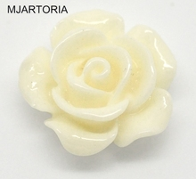 MJARTORIA 100PCs Resin Cabochon 14x6mm Rose White Resin Spacer Flower Cabochon Embellishments For DIY Jewelry Making Supplies(China)