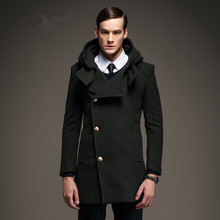 2017 New Brand Clothing Mens Wool Coats Winter Thicken Wool Jacket Men Fashion Office Outwear Army Green