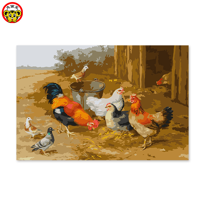 Digital oil painting handmade DIY decoration drawing room bedroom sofa background hanging painting farm chicken dove