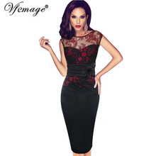 Vfemage Women Sexy embroidered Floral Lace Tunic Party Evening Special Occasion Bridesmaid Mother of Bride Embroidery Dress 4075(China)