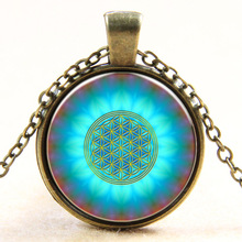 New Fashion Blue Flower Of Life Logo Pendant Chakra Necklace Sacred Geometry Jewelry Art Glass Cabochon Necklace(China)
