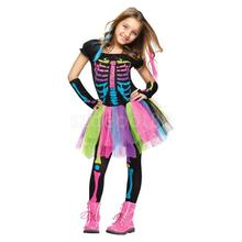 Halloween Costume Punk Gothic Rainbow Skeleton Bone Girls Fancy Dress Up Set Party Prop