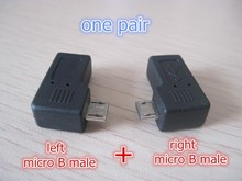 one pair 90 degree left + right angle micro USB male to mini B female connector adapter jack