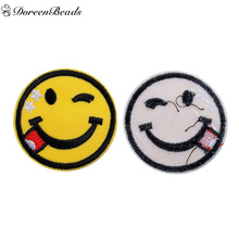 DoreenBeads 5PCs Polyester Patches Appliques DIY Scrapbooking Craft Round Yellow Emoji Wink Face Tongue Out Clothes Decoration
