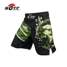 SOTF Green Bear breathable cotton boxer shorts mma sports training thai boxing mma fight short  boxing clothing muay thai boxing