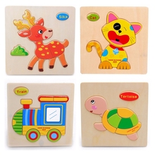 Animal Wooden Jigsaw Puzzles Toys For Children Cartoon Cat Cock Fish Butterfly Tortoise Train Model Wood Puzzle Toys