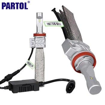 Partol CREE Puces 72 W/Set H11 Voiture LED Phare Ampoules Conversion Kit 8000LM 6500 K CSP Faisceau Unique Auto LED Phare Avant lumière
