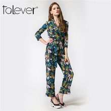 2017 New Fashion Autumn Spring Elegant Print Women Rompers Jumpsuit Casual Sashes V-neck Bodysuit Long Sleeve Button Jumpsuit(China)