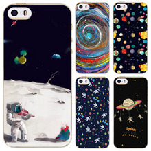 Ultra Thin Soft Silicon Phone Case Cover For Apple iPhone SE 5 5s case Universe Airship Stars Cute Cat Phone Bag Capa Celular