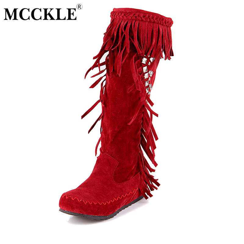 MCCKLE Female Tassel Sewing Rivets Mid Calf Boots Ladies Fashion Casual Spring Autumn Vintage Flock Style Plus Size Shoes<br>