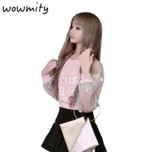 WOWMITY Spring Autumn Barbie Pink Letter Print Hologram Cleaar Long Sleeve Young Girl Punk Rock Hip Hop Shirt Pullovers Fashion