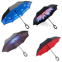 2017 Creative Luxury Fashion Folding Big C Handle Men Inverted Umbrella Sky Reverse  Windproof Sun Rain Women Umbrella