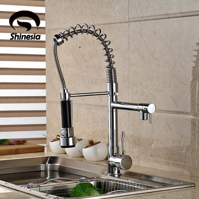 Good Quality Wholesale And Retail Chrome Finished Pull Out Spring Kitchen Faucet Swivel Spout Vessel Sink Mixer Tap<br>