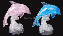 (2 pieces/lot) new dolphin 3d crystal jigsaw puzzle translucent for kid iq play educational smart toy dex