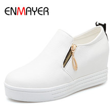 ENMAYER New Sexy Red Shoes Woman Plus Size 34-43 Ladies Flats 3 Colors White Shoes Zippers Casual Shoes in Womens