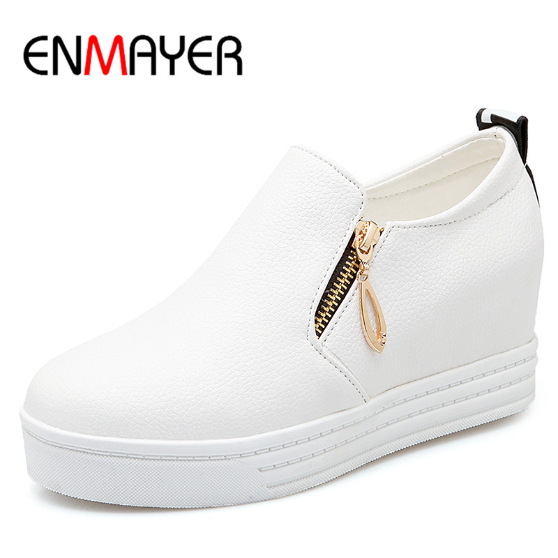 ENMAYER New Sexy Red Shoes Woman Plus Size 34-43 Ladies Flats 3 Colors White Shoes Zippers Casual Shoes in Womens<br>
