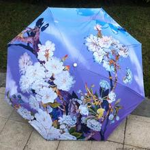 sakura flowers quality chinese oil painting sun rain art Umbrella 3 Fold Anti UV fashion impressionism free shipping Abstract
