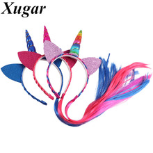 Children Dance Party Unicorn Headband with Long Braid Tails Ponytail Girls' Hair Accessories Leather Handmade Hairband(China)