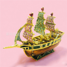European painting crafts, metal crafts mini sailboat,desktop Decoration home ornaments gift(A440)(China)