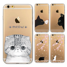 Black Cat Adorable Rabbit Mobile Phone Bags For iPhone4 4s 5 5s SE 5C 6s 6sPlus Back Skin Soft TPU Silicon Skin Clear Case Cover(China)