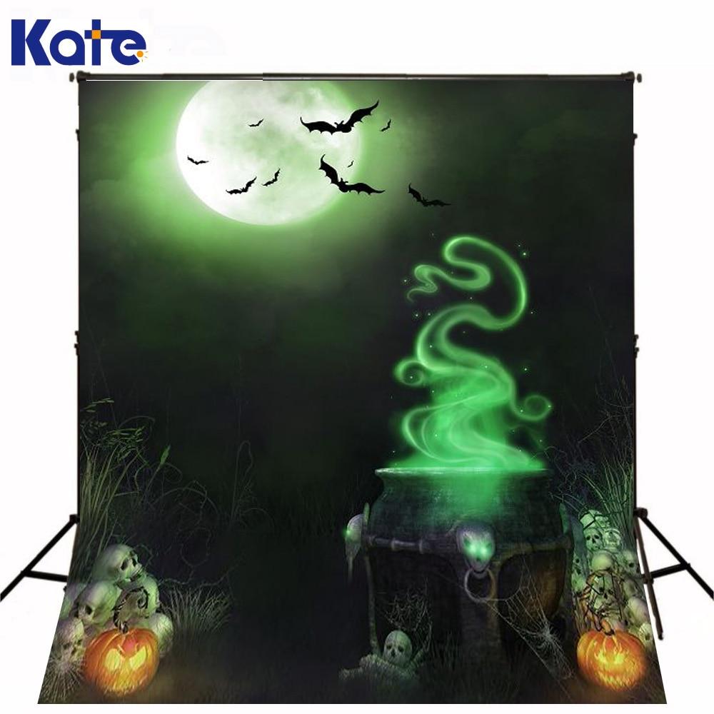 Kate Halloween Photography Backdrops Magic Potion Pumpkin Grass Halloween Backgrounds Bat Night Sky Moon Photo Studio<br>