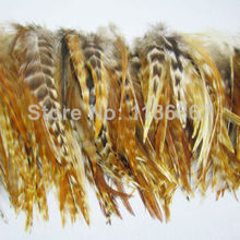 100pcs/lot natural chinchilla rooster Saddle Hackle Feathers5-6inch Nature Grizzly Feathers for hair extensions(China)