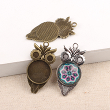10pcs Fit 20mm Round Metal Alloy Owl Cabochon Settings antique silver bronze pendant cameo base trays diy jewelry accessories
