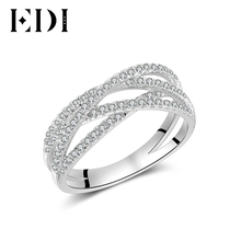 EDI Trendy 14K 585 White Gold Hollow Rings Natural Real Diamond 0.48cttw Wedding Engagement Ring for Women Fine Jewelry Gifts(China)